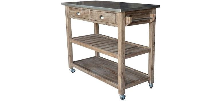 Benjara 2 Drawers Wooden Frame Kitchen Cart with Metal Top